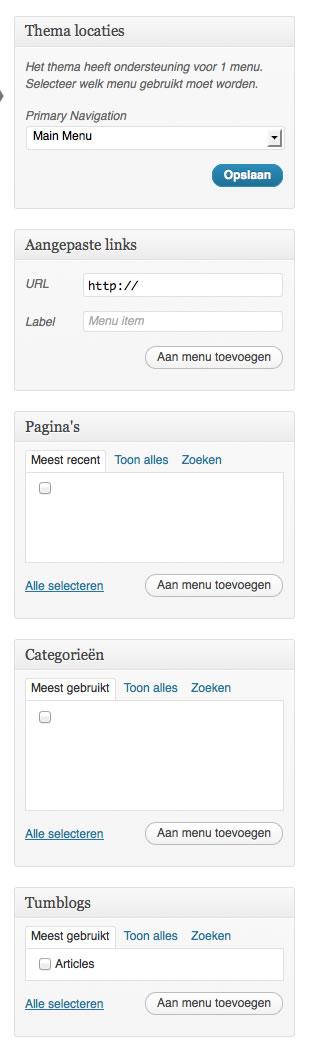 wordpress menu item maken